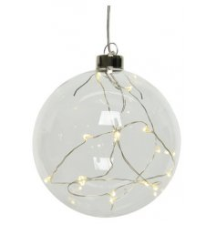 An LED Filled Glass Bauble Hanging Decoration sure to place perfectly in any home space