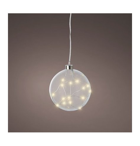 A contemporary and chic glass bauble filled with warm glow micro lights.