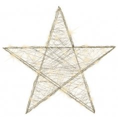 A warm glowing LED Wire Star in a silver tone
