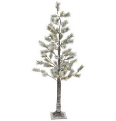 A beautiful snow covered Pine Tree with added warm glowing LED lights entwined on each branch