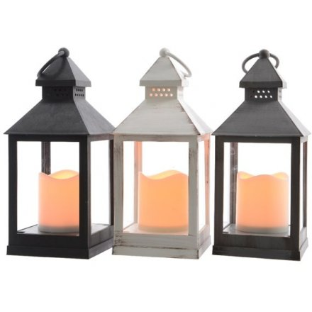 Create a wonderful winter wonderland at home with this assortment of classic lanterns. Each containing a warm glow LED