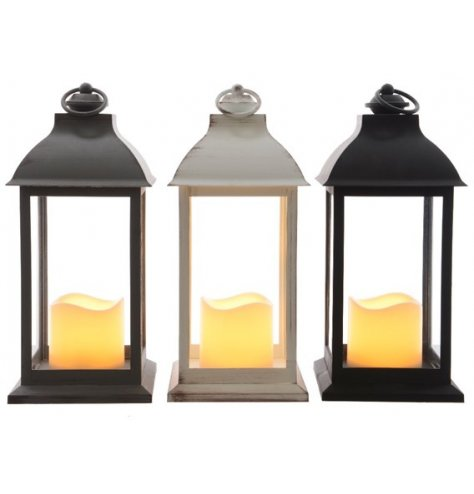 Classic hanging lanterns each with a flickering, warm glow LED candle inside.