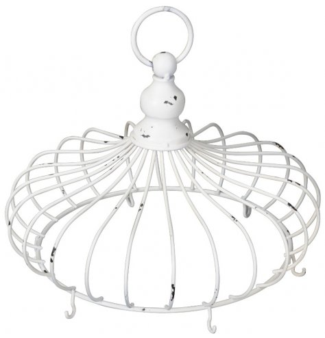 A simple whitewashed metal crown hanging decoration, perfect for displaying decorative hanging items