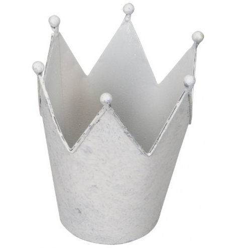A simple whitewashed metal crown decoration suitable for tlight use or small planters