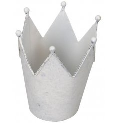 A decorative metal crown set with a distressed white tone, perfect for displaying artificial plants in
