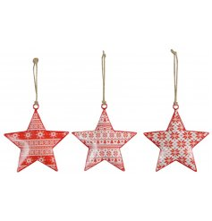 An assortment of 3 individually designed hanging metal stars, each set with an added festive red and white tone