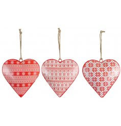 An assortment of 3 individually designed hanging metal hearts, each set with an added festive red and white tone