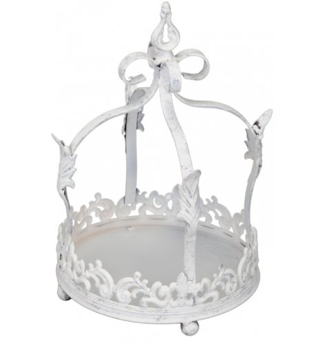 A unique crown decoration with a distressed, antique finish. Ideal for displaying plants, candles and decorations.