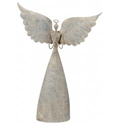 A beautifully rustic inspired standing Ornamental Metal Angel with added distressed settings