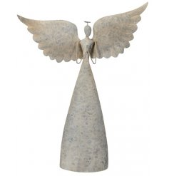 A large decorative metal Angel Ornament set with a distressed metal tone and rustic charm