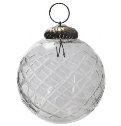 Perfect for placing in any tree with a vintage charm, a glass bauble with an etched diamond print and tarnished topper