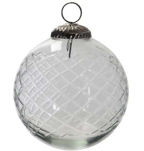 A simple antique inspired glass bauble complete with an etched diamond ridge