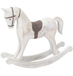 A beautiful Traditional themed Rocking Horse decoration set with a whitewashed finish