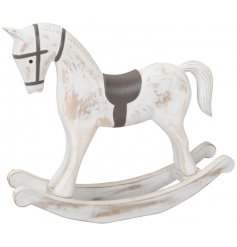 A decorative wooden rocking horse covered with a Rustic White Washed tone