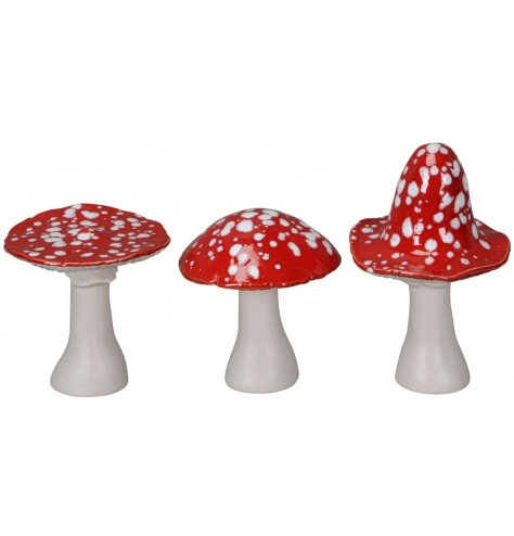 Create a whimsical woodland scene this season with this assortment of speckled toadstools in festive colours.