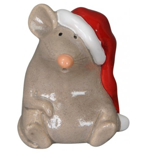 An adorable sitting mouse decoration with a button nose and oversized Santa hat.