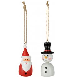 A mix of hanging Santa and Snowman decorations with an overly distressed setting to each