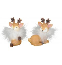 An assortment of cheery little reindeer with added faux feathers
