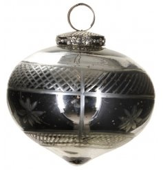A silvered glass bauble set with a beautifully vintage decal to it