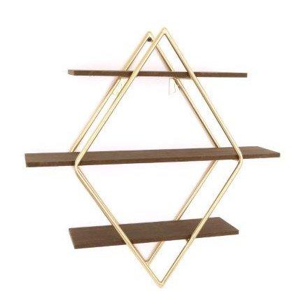 3 Shelf Golden Diamond Unit, 45cm