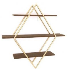 A large decorative shelving unit, perfect for placing in any home with a Golden Luxe theme to it