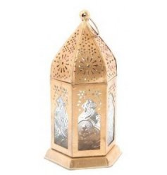 Sure to bring a Golden Luxe accent to any home space, a tall standing golden toned lantern with etched glass detailing