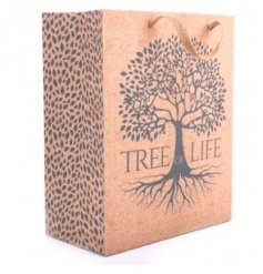 A silver Tree decorated Gift Bag with an added natural charm and matching gift tag