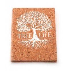 A natural toned note book featuring a silver toned tree of life decal across the front