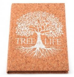 a Silver Tree decorated notebook with a cork inspired background effect