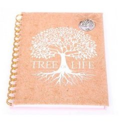 a Silver Tree decorated notebook with a cork inspired background effect and spiral spine
