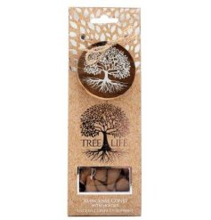 A sweetly scented pack of incense cones placed within a Tree of Life decorated packaging
