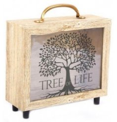 A suitcase style money box with wooden frame and glass fronted. Printed with the popular Tree Of Life image.