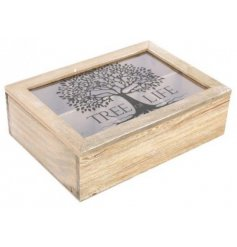 A natural wooden tea storage box with a Tree Of Life decal on the glass.