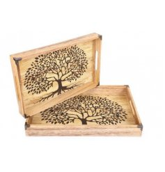 A set of two natural wooden tea trays with a painted Tree Of Life decal and metal supported corners.