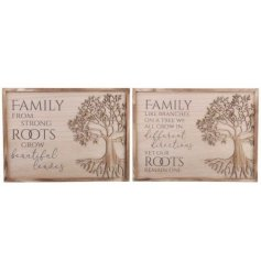 Two charming wooden plaques with a charming quote and carved Tree Of Life.