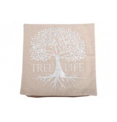 A natural woven fabric cushion with a silver decal of the Tree Of Life.