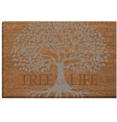 A coir door mat with a Luxury Tree of Life inspired decal on top