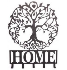 A 'Home' quotation coat hook with the popular Tree Of Life feature in black.