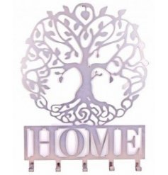 A 'Home' quotation coat hook with the popular Tree Of Life feature in silver.
