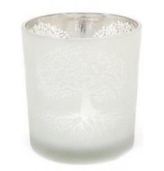 A luxurious t-light candle holder with a frosted effect and Tree Of Life decal.
