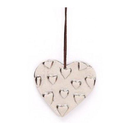 Rustic Metal Hanging Heart, 10cm