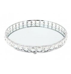A gorgeous Mirrored Tray featuring a Sparkling Gem edging