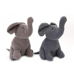 Assorted by their beige and grey Corduroy fabric finishes this mix of elephant doorstops are a must for any home