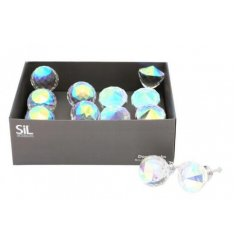 A mix of rounded and pointed shaped acrylic crystal doorknobs perfectly set with a gleaming iridescent coating