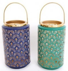 A mix of Blue and Turquoise toned lanterns with added gold decals and embossed patterns