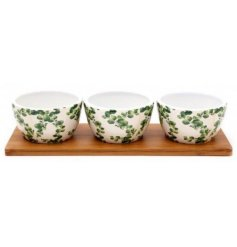 A set of 3 small sized bowls with a Eucalyptus printed decal on each
