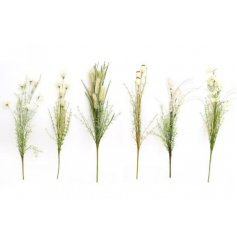 An assortment of Artificial Wild Flower Stem decorations each set with a neutral ivory tone