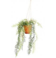 A hanging planter set with an overgrown artificial lavender plant within it