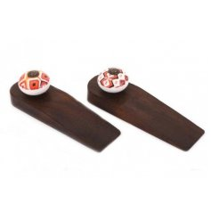 An assortment of 2 wooden door wedges, each featuring its own autumnal toned Moroccan patterned knob decal