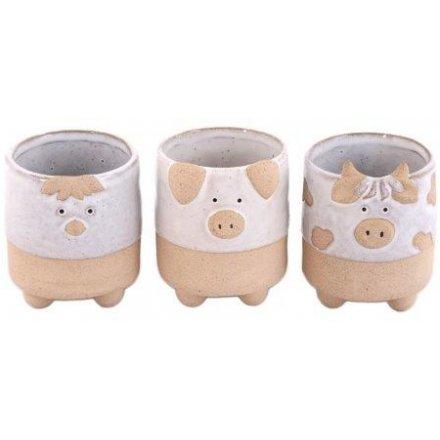 Farmyard Animal Ceramic Planters, 8.5cm